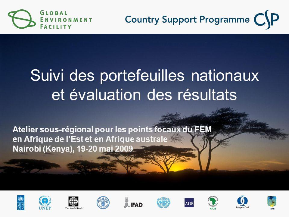 Atelier sous-régional pour les points focaux du FEM en Afrique de lEst et en Afrique australe Nairobi (Kenya), 19-20 mai 2009 Suivi des portefeuilles nationaux et évaluation des résultats