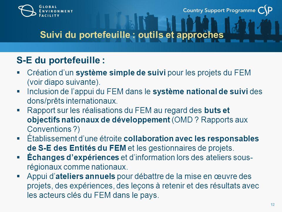 12 Suivi du portefeuille : outils et approches S-E du portefeuille : Création dun système simple de suivi pour les projets du FEM (voir diapo suivante).