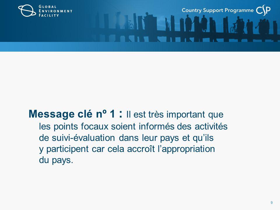 99 Message clé nº 1 : Il est très important que les points focaux soient informés des activités de suivi-évaluation dans leur pays et quils y participent car cela accroît lappropriation du pays.