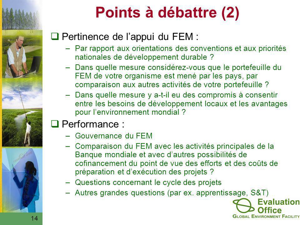 Points à débattre (2) Pertinence de lappui du FEM : –Par rapport aux orientations des conventions et aux priorités nationales de développement durable