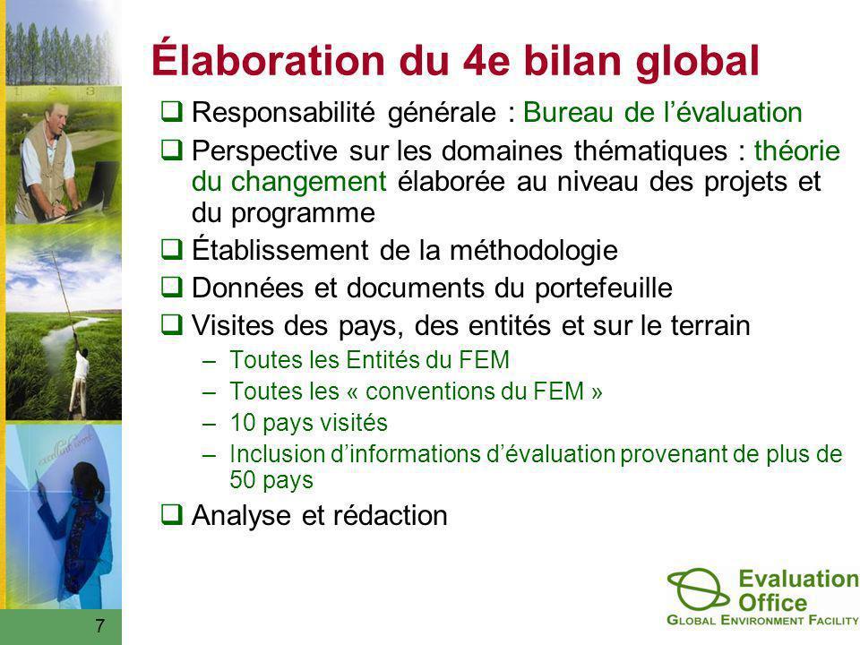 7 Élaboration du 4e bilan global Responsabilité générale : Bureau de lévaluation Perspective sur les domaines thématiques : théorie du changement élab