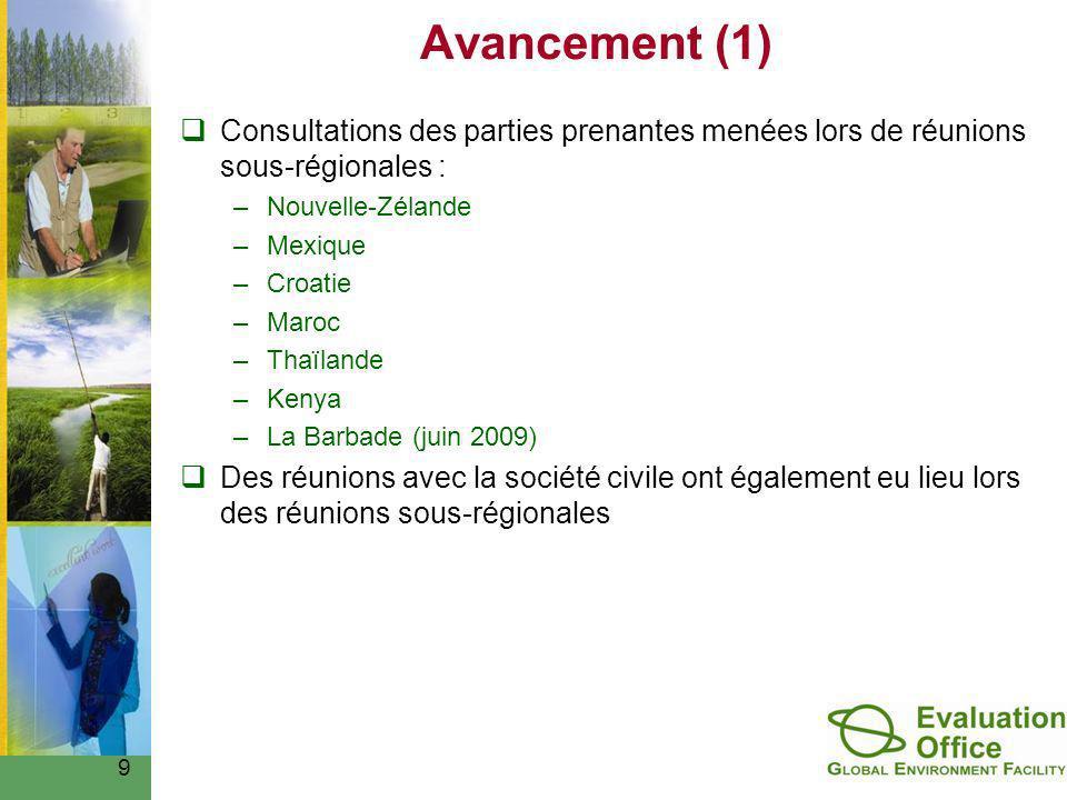 Avancement (1) Consultations des parties prenantes menées lors de réunions sous-régionales : –Nouvelle-Zélande –Mexique –Croatie –Maroc –Thaïlande –Kenya –La Barbade (juin 2009) Des réunions avec la société civile ont également eu lieu lors des réunions sous-régionales 9