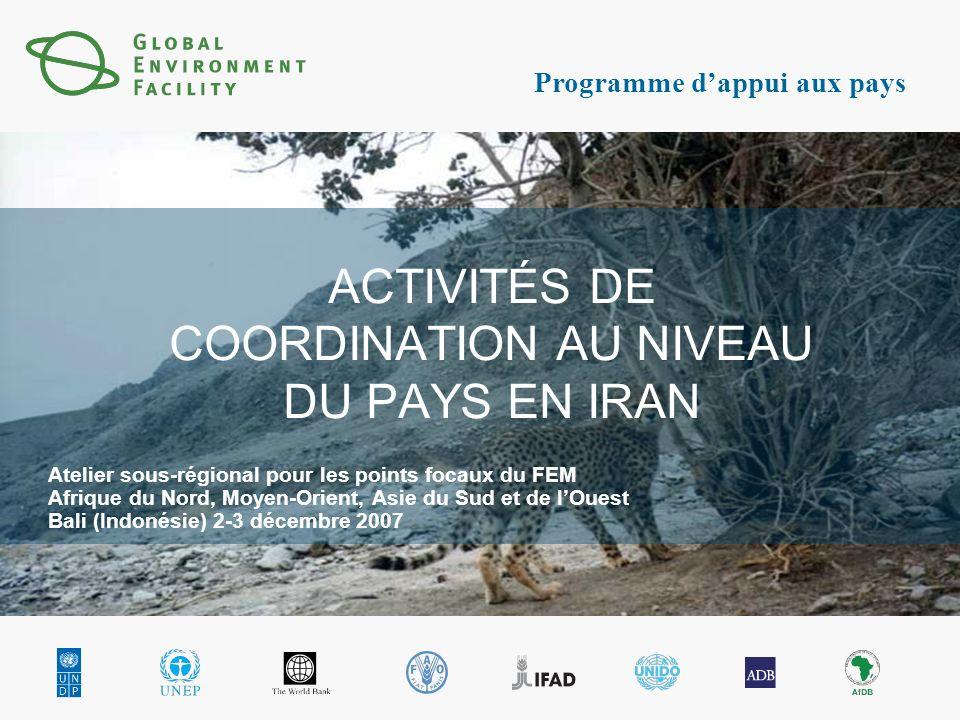 Programme dappui aux pays ACTIVITÉS DE COORDINATION AU NIVEAU DU PAYS EN IRAN Atelier sous-régional pour les points focaux du FEM Afrique du Nord, Moyen-Orient, Asie du Sud et de lOuest Bali (Indonésie) 2-3 décembre 2007