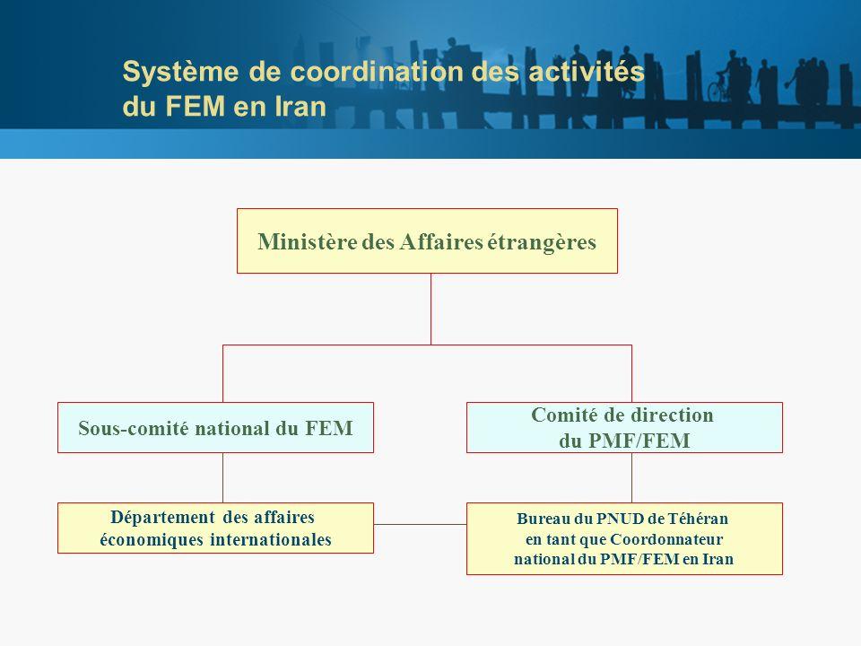 Système de coordination des activités du FEM en Iran Ministère des Affaires étrangères Sous-comité national du FEM Comité de direction du PMF/FEM Département des affaires économiques internationales Bureau du PNUD de Téhéran en tant que Coordonnateur national du PMF/FEM en Iran