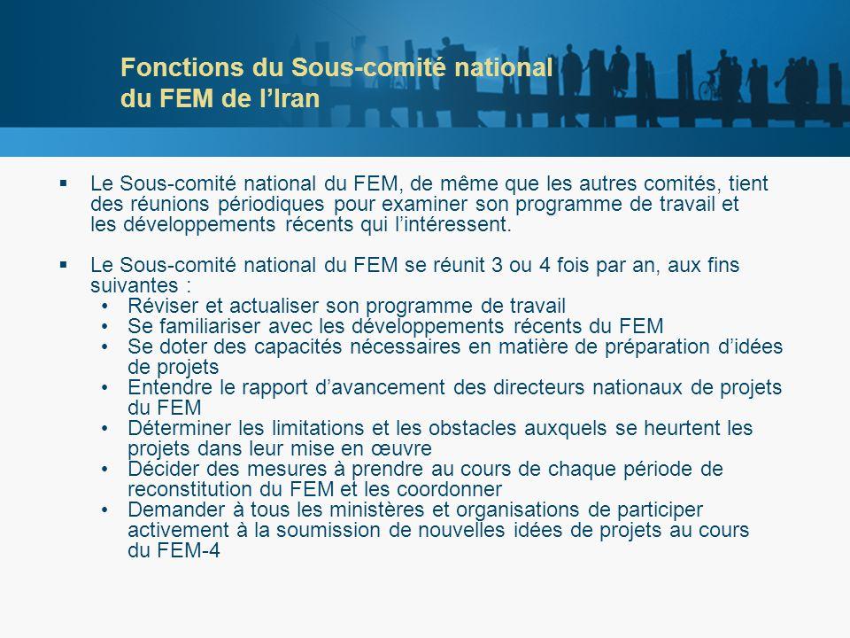 Fonctions du Sous-comité national du FEM de lIran Le Sous-comité national du FEM, de même que les autres comités, tient des réunions périodiques pour examiner son programme de travail et les développements récents qui lintéressent.