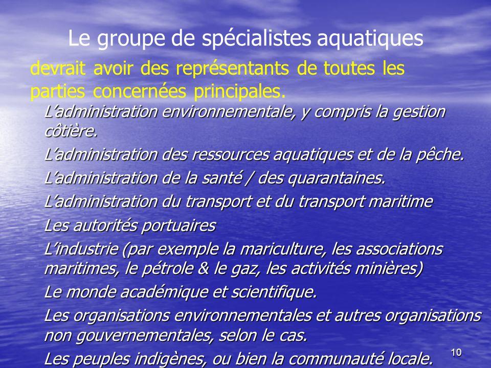 10 Le groupe de spécialistes aquatiques Ladministration environnementale, y compris la gestion côtière. Ladministration des ressources aquatiques et d