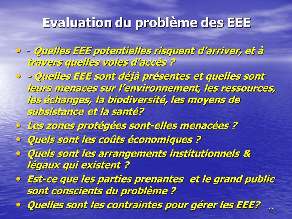 11 Evaluation du problème des EEE - Quelles EEE potentielles risquent darriver, et à travers quelles voies daccès ? - Quelles EEE potentielles risquen