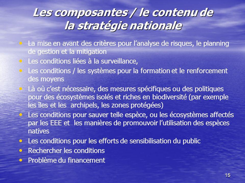 15 Les composantes / le contenu de la stratégie nationale La mise en avant des critères pour lanalyse de risques, le planning de gestion et la mitigat