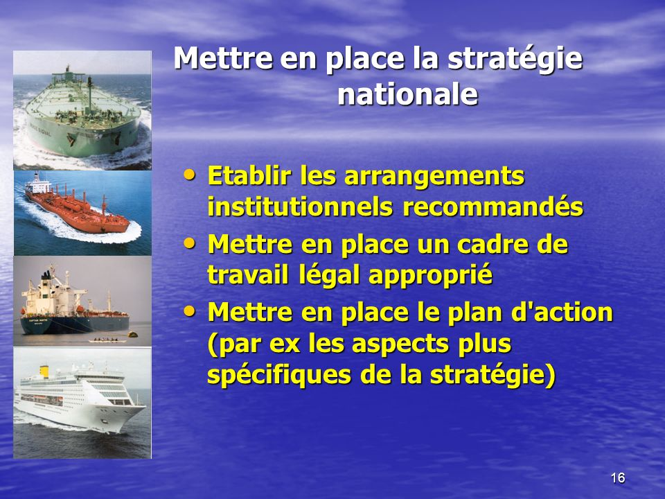 16 Mettre en place la stratégie nationale Etablir les arrangements institutionnels recommandés Etablir les arrangements institutionnels recommandés Me