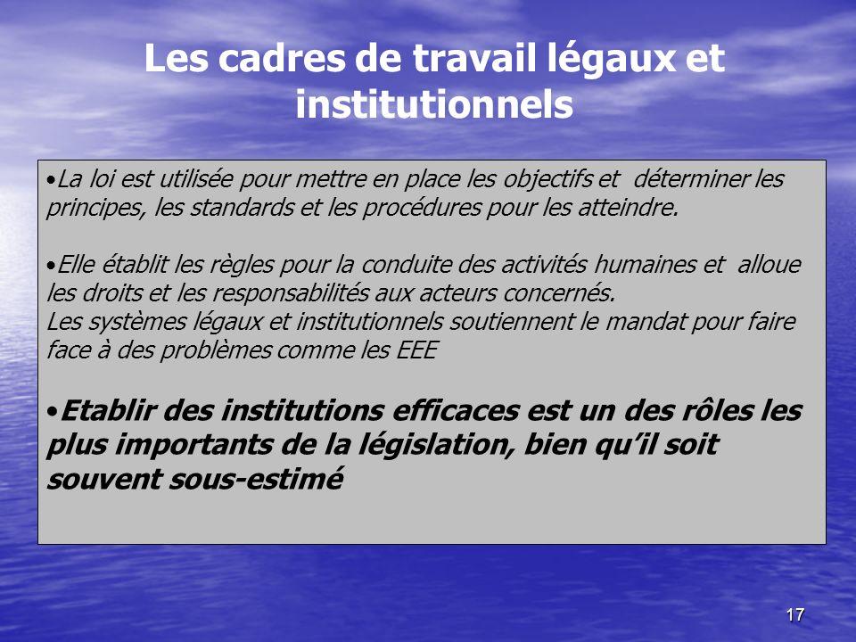 17 La loi est utilisée pour mettre en place les objectifs et déterminer les principes, les standards et les procédures pour les atteindre. Elle établi