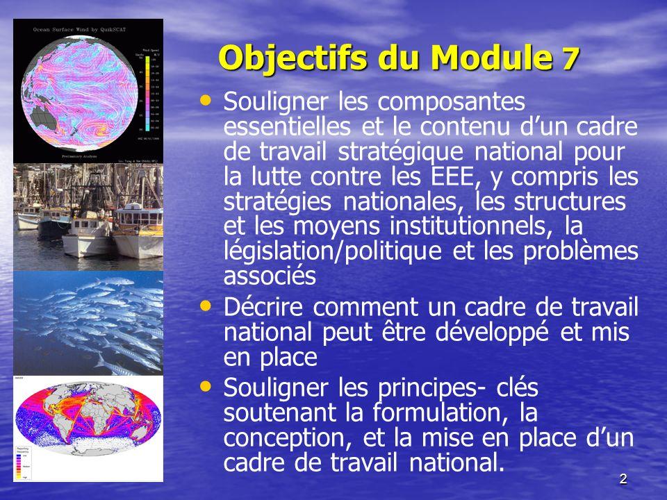 2 Objectifs du Module 7 Souligner les composantes essentielles et le contenu dun cadre de travail stratégique national pour la lutte contre les EEE, y
