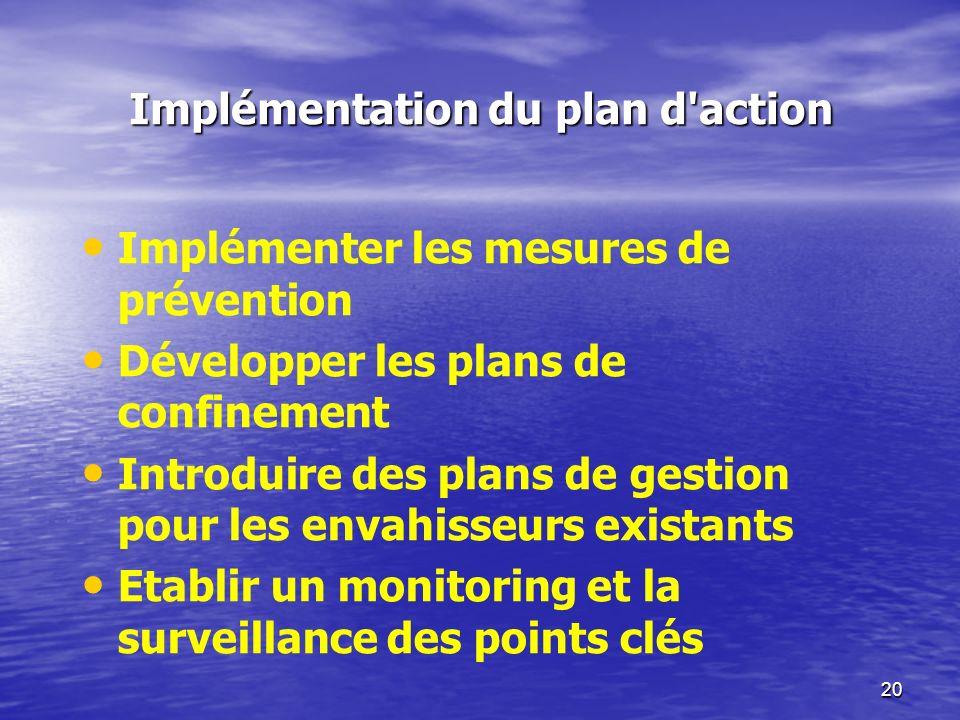 20 Implémentation du plan d'action Implémenter les mesures de prévention Développer les plans de confinement Introduire des plans de gestion pour les
