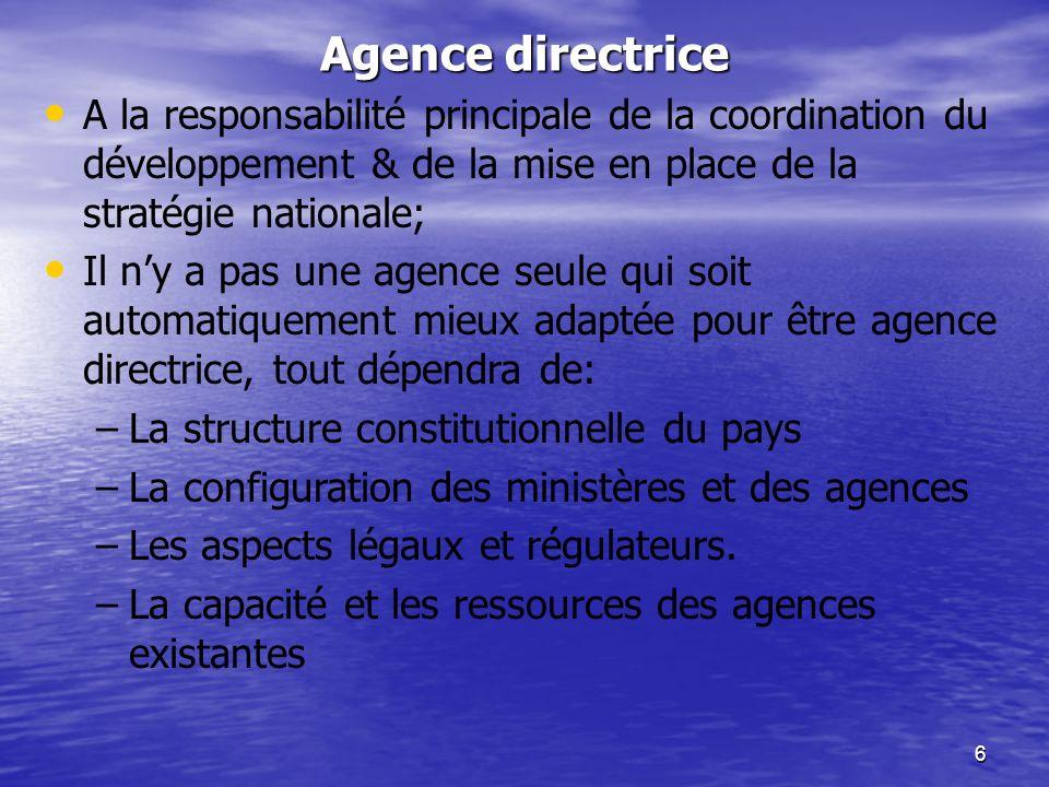 6 Agence directrice A la responsabilité principale de la coordination du développement & de la mise en place de la stratégie nationale; Il ny a pas un