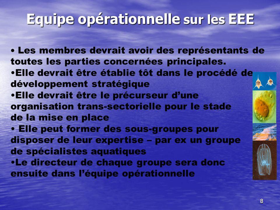 8 Equipe opérationnelle sur les EEE Les membres devrait avoir des représentants de toutes les parties concernées principales. Elle devrait être établi