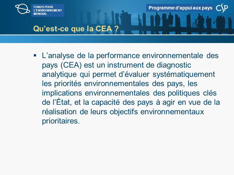 FONDS POUR LENVIRONNEMENT MONDIAL Programme dappui aux pays Objectifs de la CEA Faciliter une prise en compte systématique de lenvironnement, du développement et de la lutte contre la pauvreté dans le dialogue de politique du pays, en fournissant des informations et des analyses sur les facteurs clés intervenant dans ces divers domaines Guider laide environnementale et le renforcement des capacités en se fondant sur une évaluation des questions de capacités, notamment par rapport aux priorités spécifiques en matière denvironnement, et Faciliter lapplication dune approche stratégique des questions de sauvegarde en fournissant une analyse et des informations sur les liens qui existent entre lenvironnement lors des premiers stades des processus décisionnels.