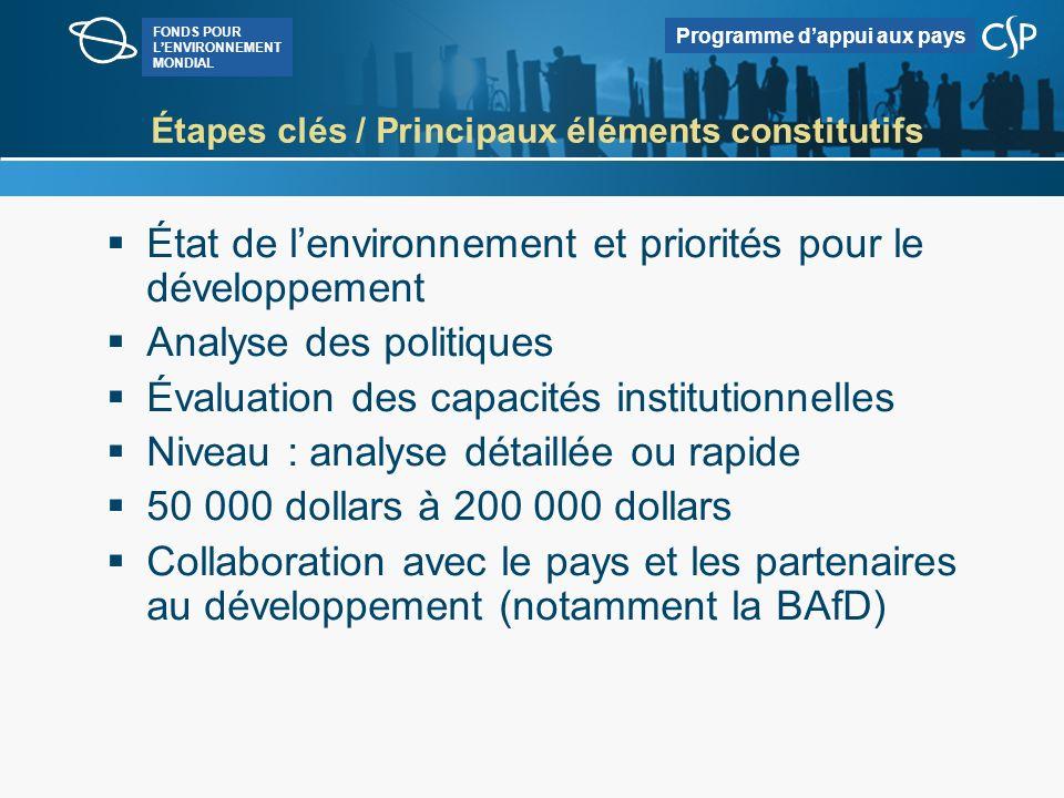 FONDS POUR LENVIRONNEMENT MONDIAL Programme dappui aux pays Pour de plus amples informations http://www.worldbank.org/ Rechercher : CEA