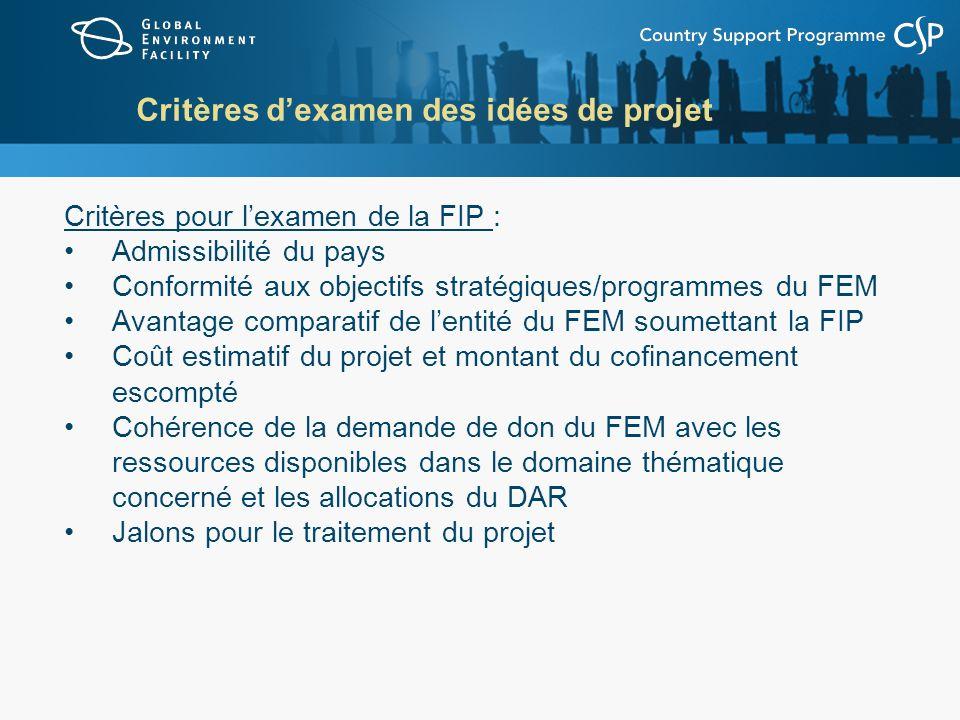 Critères dexamen des idées de projet Critères pour lexamen de la FIP : Admissibilité du pays Conformité aux objectifs stratégiques/programmes du FEM A
