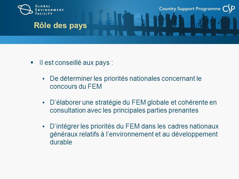 Rôle des pays Il est conseillé aux pays : De déterminer les priorités nationales concernant le concours du FEM Délaborer une stratégie du FEM globale et cohérente en consultation avec les principales parties prenantes Dintégrer les priorités du FEM dans les cadres nationaux généraux relatifs à lenvironnement et au développement durable