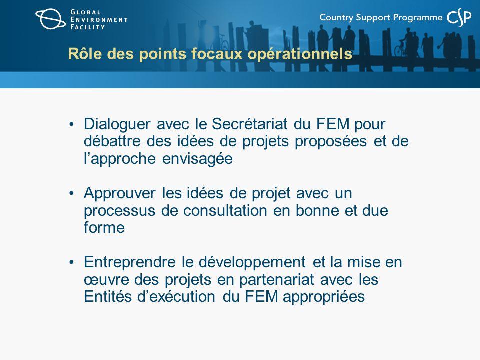 Rôle des points focaux opérationnels Dialoguer avec le Secrétariat du FEM pour débattre des idées de projets proposées et de lapproche envisagée Approuver les idées de projet avec un processus de consultation en bonne et due forme Entreprendre le développement et la mise en œuvre des projets en partenariat avec les Entités dexécution du FEM appropriées