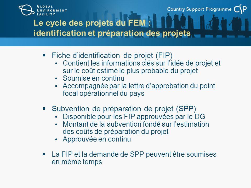 Le cycle des projets du FEM : identification et préparation des projets Fiche didentification de projet (FIP) Contient les informations clés sur lidée