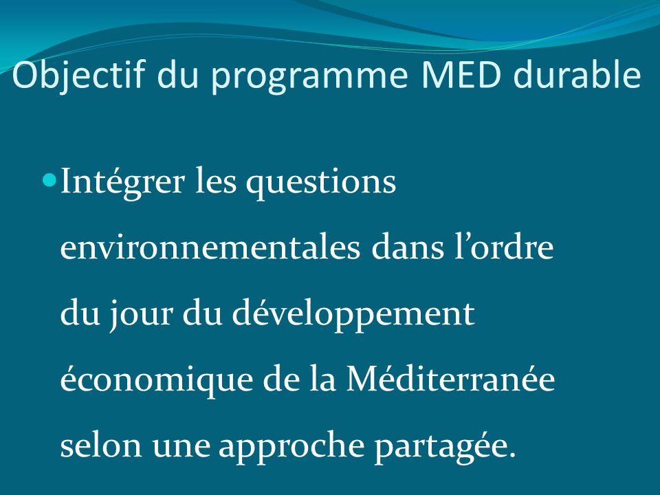 Objectif du programme MED durable Intégrer les questions environnementales dans lordre du jour du développement économique de la Méditerranée selon une approche partagée.