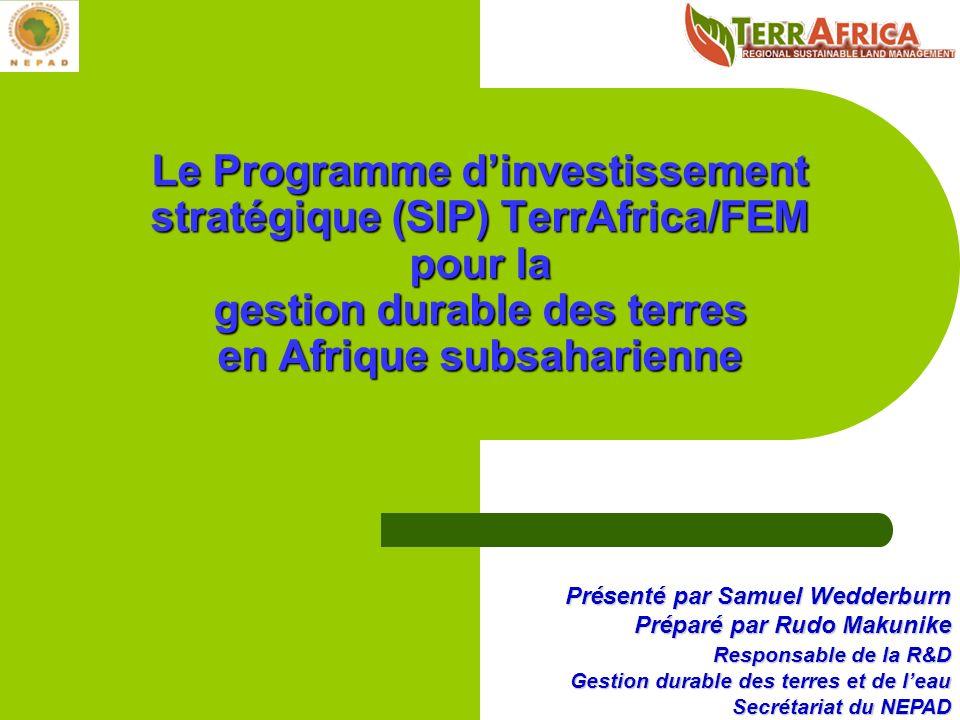 Présenté par Samuel Wedderburn Préparé par Rudo Makunike Responsable de la R&D Gestion durable des terres et de leau Secrétariat du NEPAD Le Programme dinvestissement stratégique (SIP) TerrAfrica/FEM pour la gestion durable des terres en Afrique subsaharienne