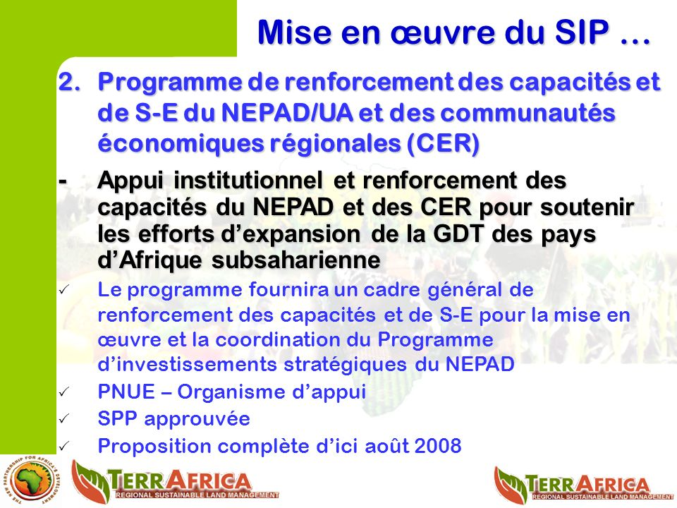 Mise en œuvre du SIP … 2.Programme de renforcement des capacités et de S-E du NEPAD/UA et des communautés économiques régionales (CER) - Appui institutionnel et renforcement des capacités du NEPAD et des CER pour soutenir les efforts dexpansion de la GDT des pays dAfrique subsaharienne Le programme fournira un cadre général de renforcement des capacités et de S-E pour la mise en œuvre et la coordination du Programme dinvestissements stratégiques du NEPAD PNUE – Organisme dappui SPP approuvée Proposition complète dici août 2008