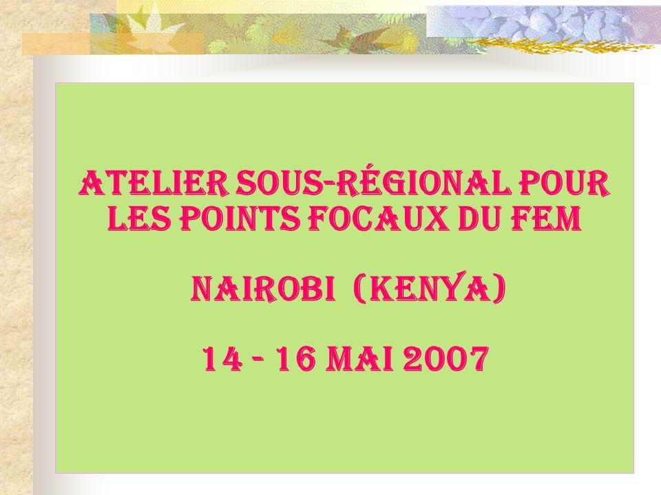 ATELIER SOUS-RÉGIONAL POUR LES POINTS FOCAUX DU FEM Nairobi (Kenya) 14 - 16 MaI 2007