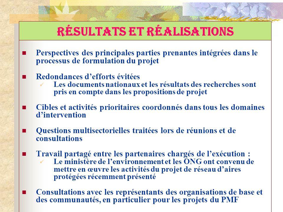 RÉSULTATS ET RÉALISATIONS Perspectives des principales parties prenantes intégrées dans le processus de formulation du projet Redondances defforts évi