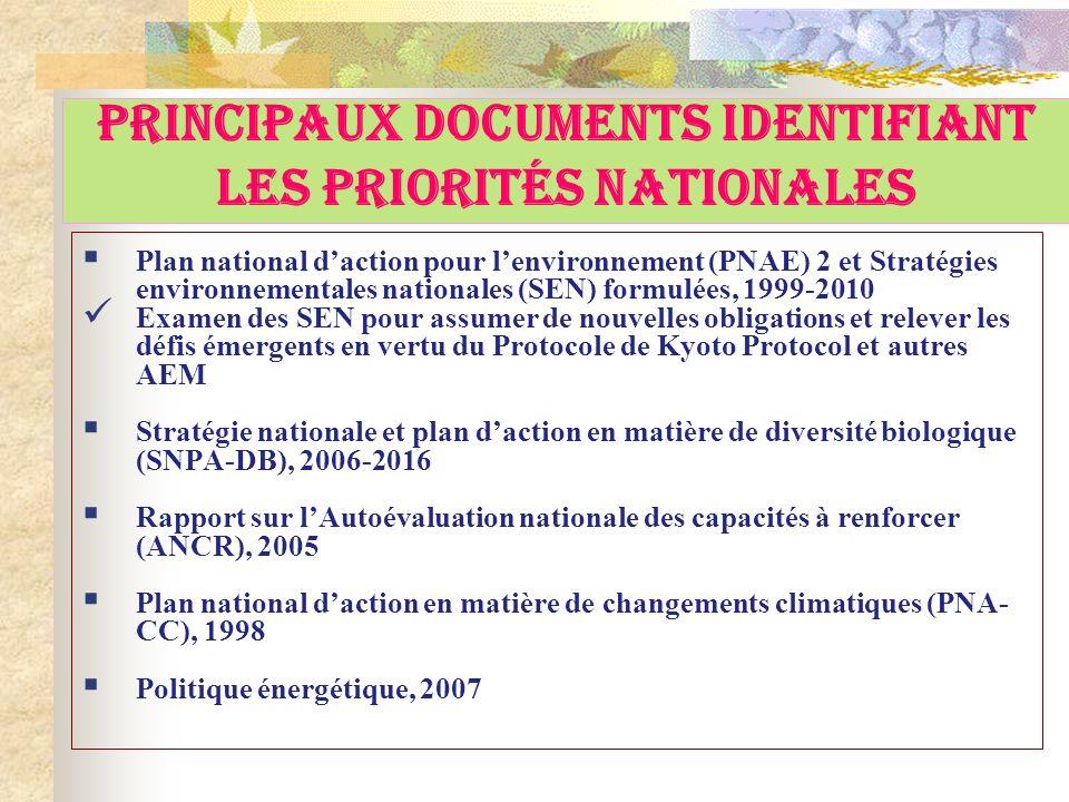 Principaux Documents Identifiant Les Priorités Nationales Plan national daction pour lenvironnement (PNAE) 2 et Stratégies environnementales nationale