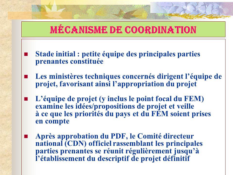 MÉCANISME DE COORDINATION Stade initial : petite équipe des principales parties prenantes constituée Les ministères techniques concernés dirigent léqu