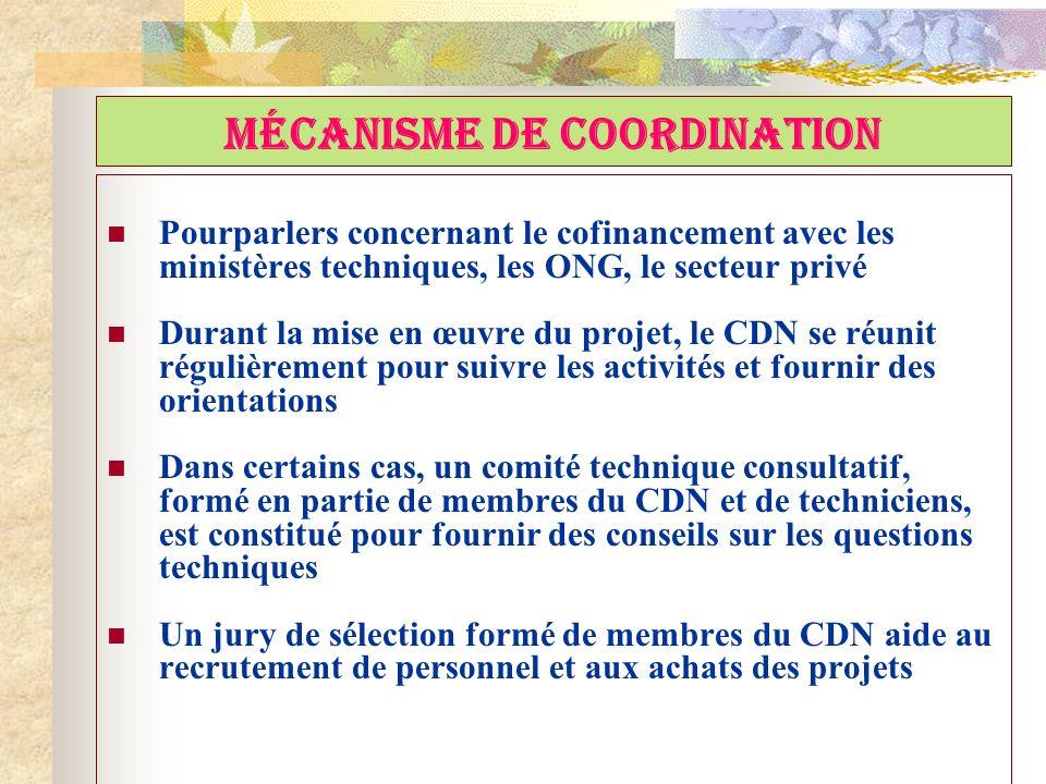 MÉCANISME DE COORDINATION Pourparlers concernant le cofinancement avec les ministères techniques, les ONG, le secteur privé Durant la mise en œuvre du