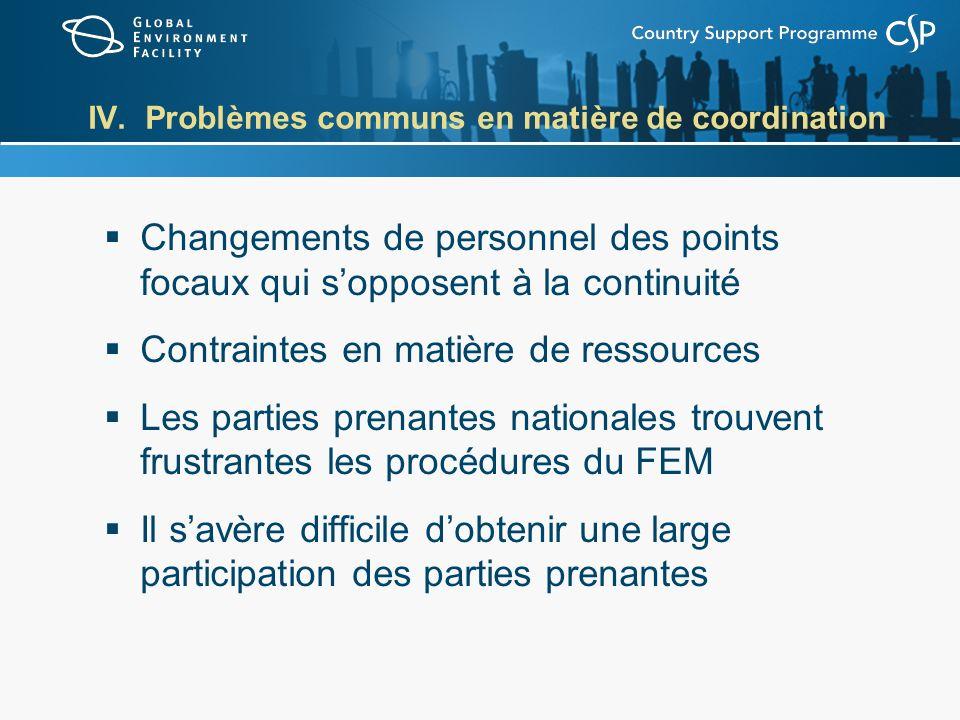 IV. Problèmes communs en matière de coordination Changements de personnel des points focaux qui sopposent à la continuité Contraintes en matière de re