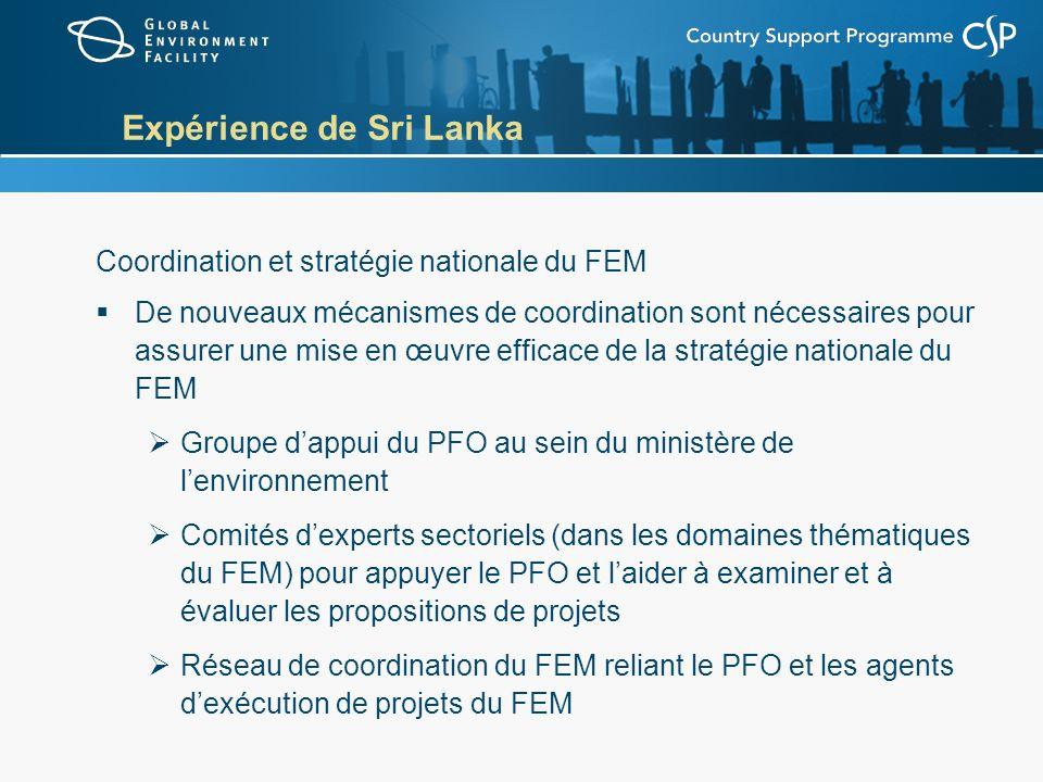 Expérience de Sri Lanka Coordination et stratégie nationale du FEM De nouveaux mécanismes de coordination sont nécessaires pour assurer une mise en œuvre efficace de la stratégie nationale du FEM Groupe dappui du PFO au sein du ministère de lenvironnement Comités dexperts sectoriels (dans les domaines thématiques du FEM) pour appuyer le PFO et laider à examiner et à évaluer les propositions de projets Réseau de coordination du FEM reliant le PFO et les agents dexécution de projets du FEM