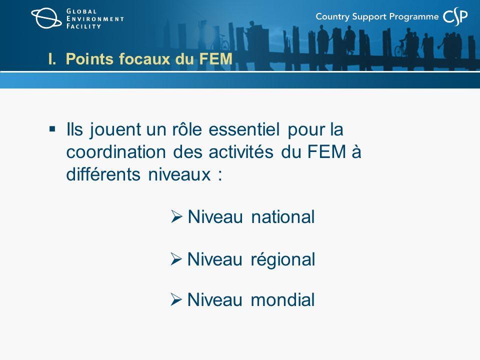 I. Points focaux du FEM Ils jouent un rôle essentiel pour la coordination des activités du FEM à différents niveaux : Niveau national Niveau régional
