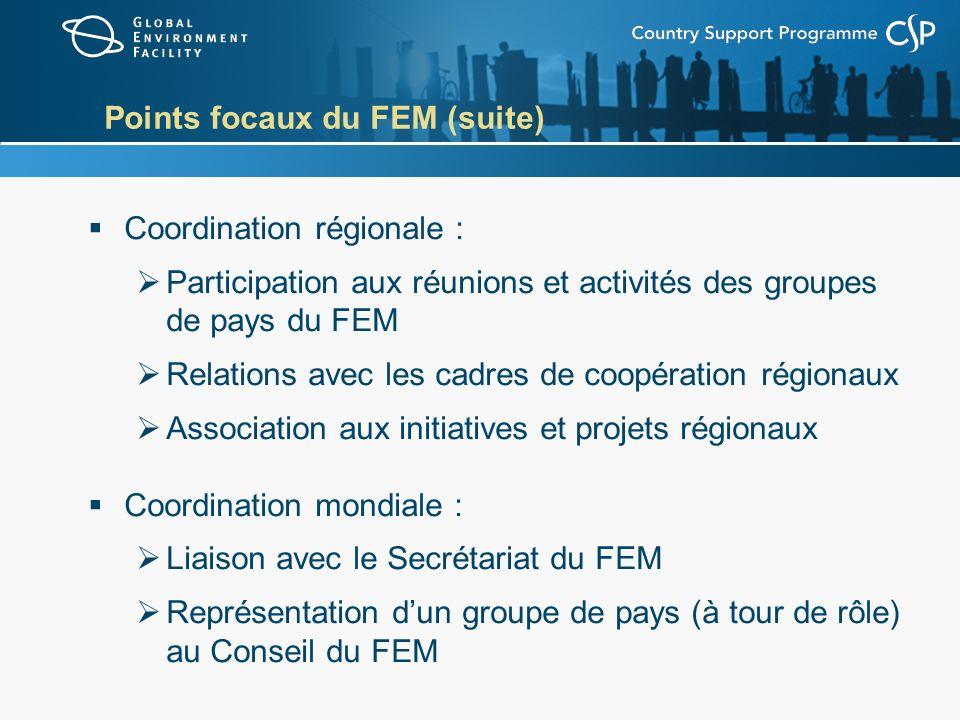 Points focaux du FEM (suite) Coordination régionale : Participation aux réunions et activités des groupes de pays du FEM Relations avec les cadres de coopération régionaux Association aux initiatives et projets régionaux Coordination mondiale : Liaison avec le Secrétariat du FEM Représentation dun groupe de pays (à tour de rôle) au Conseil du FEM