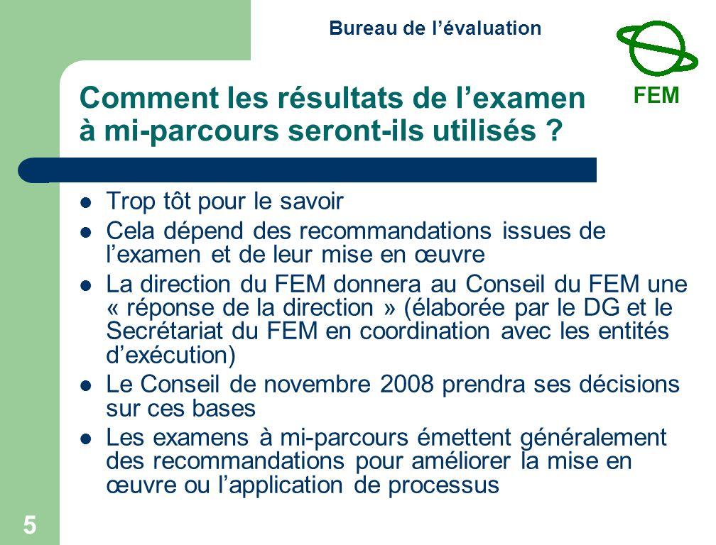 Bureau de lévaluation 5 Comment les résultats de lexamen à mi-parcours seront-ils utilisés .
