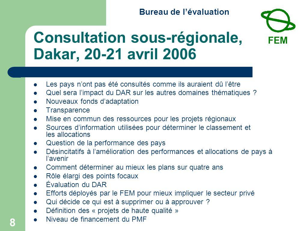Bureau de lévaluation 8 Consultation sous-régionale, Dakar, 20-21 avril 2006 Les pays nont pas été consultés comme ils auraient dû lêtre Quel sera limpact du DAR sur les autres domaines thématiques .