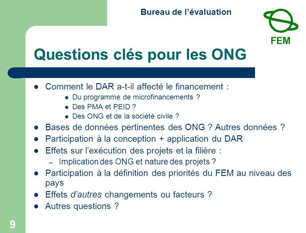 Bureau de lévaluation 10 Dix questions clés pour l examen à mi-parcours (1) Conception : 1.