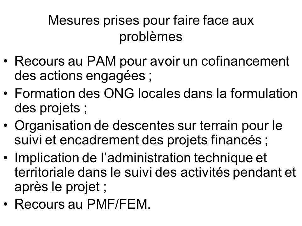 Mesures prises pour faire face aux problèmes Recours au PAM pour avoir un cofinancement des actions engagées ; Formation des ONG locales dans la formu