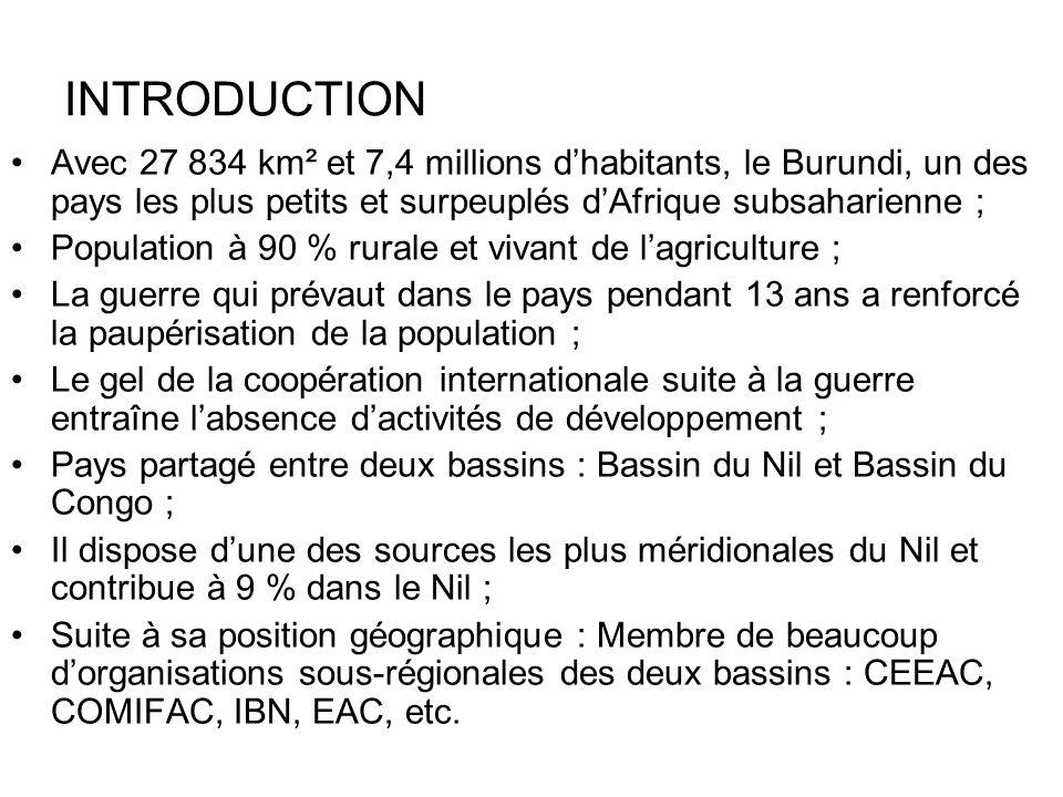 INTRODUCTION Avec 27 834 km² et 7,4 millions dhabitants, le Burundi, un des pays les plus petits et surpeuplés dAfrique subsaharienne ; Population à 9