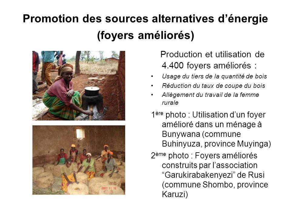 Promotion des sources alternatives dénergie (foyers améliorés) Production et utilisation de 4.400 foyers améliorés : Usage du tiers de la quantité de