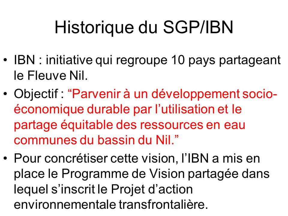 Historique du SGP/IBN IBN : initiative qui regroupe 10 pays partageant le Fleuve Nil. Objectif : Parvenir à un développement socio- économique durable