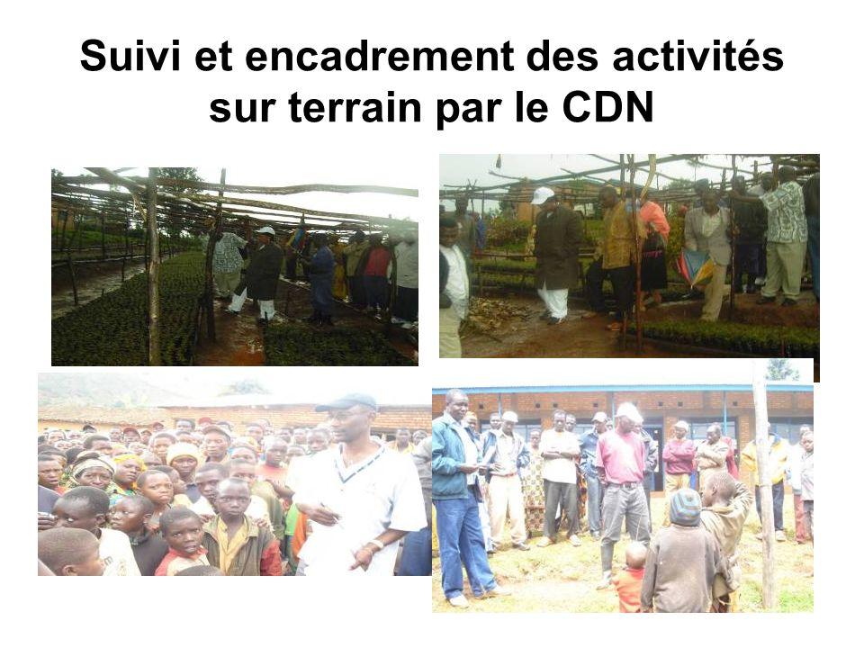 Suivi et encadrement des activités sur terrain par le CDN