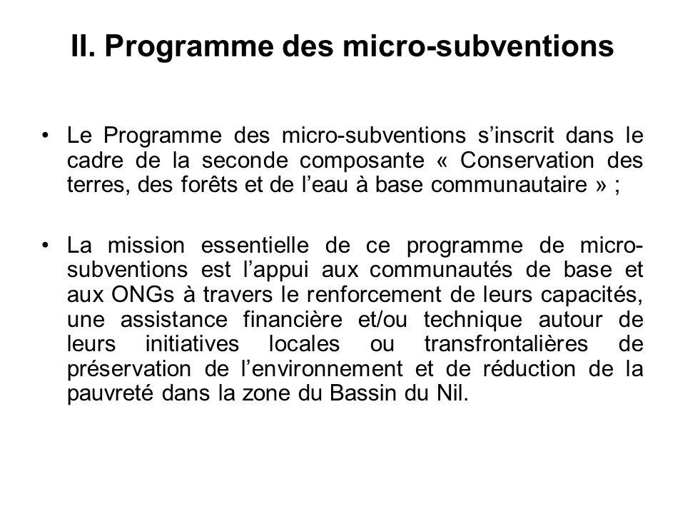 Cadre institutionnel du Programme Le Programme des micro-subventions est logé par une ONG locale appelée « ONG hôte » basée dans la zone du bassin du Nil ; LONG Hôte doit avoir une expérience en appui aux initiatives locales de développement et de protection de lenvironnement ; LONG Hôte a signé un contrat avec lUNOPS pour fournir une assistance nécessaire au Programme des micro-subventions pour la mise en œuvre de ses activités ; Au Burundi, le Programme des micro-subventions est logé par lUnion pour la Coopération et le Développement (UCODE) à Ngozi.