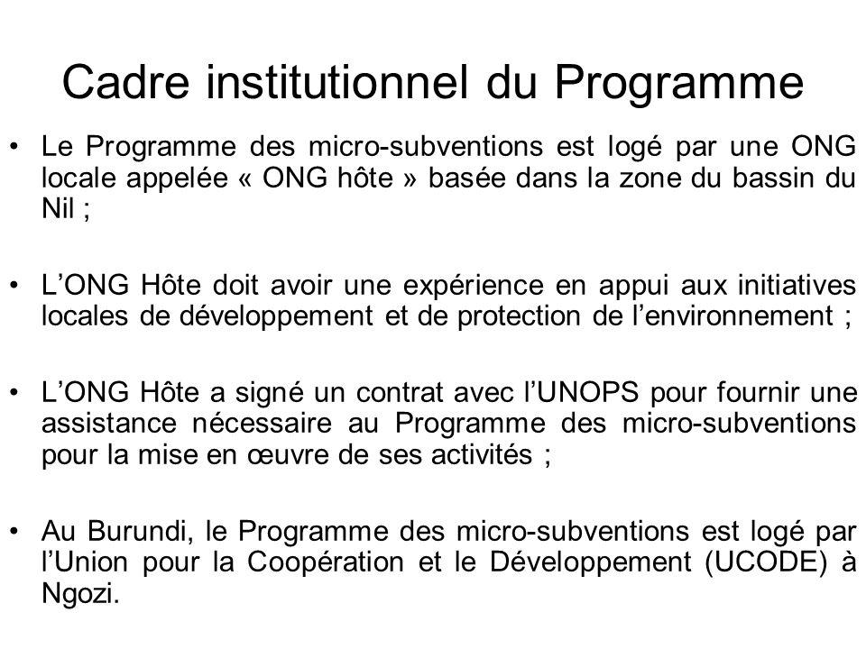 Cadre institutionnel du Programme Le Programme des micro-subventions est logé par une ONG locale appelée « ONG hôte » basée dans la zone du bassin du