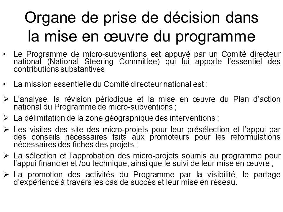 Organe de prise de décision dans la mise en œuvre du programme Le Programme de micro-subventions est appuyé par un Comité directeur national (National
