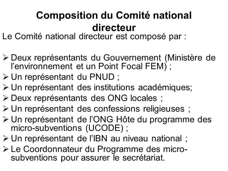 Composition du Comité national directeur Le Comité national directeur est composé par : Deux représentants du Gouvernement (Ministère de lenvironnemen