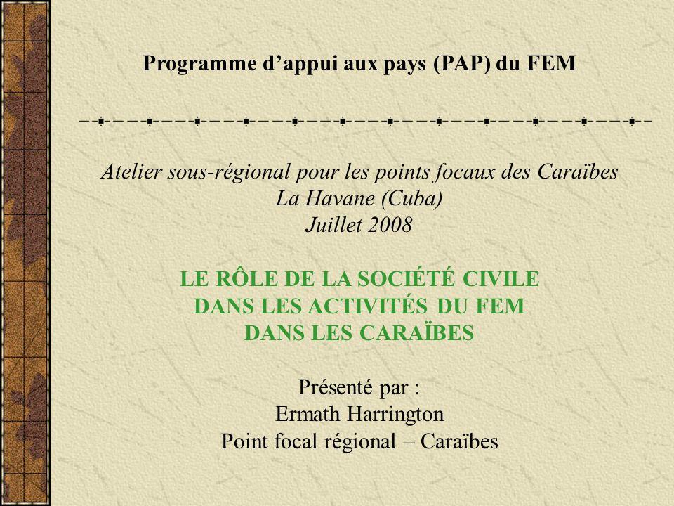 Programme dappui aux pays (PAP) du FEM Atelier sous-régional pour les points focaux des Caraïbes La Havane (Cuba) Juillet 2008 LE RÔLE DE LA SOCIÉTÉ C