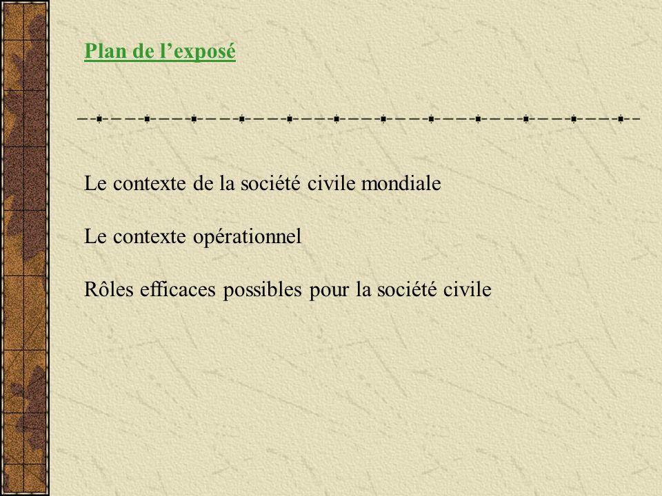 Plan de lexposé Le contexte de la société civile mondiale Le contexte opérationnel Rôles efficaces possibles pour la société civile